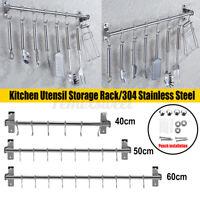 304 Stainless Steel Kitchen Utensil Storage Rack Organiser Lid Holder Wall Mount