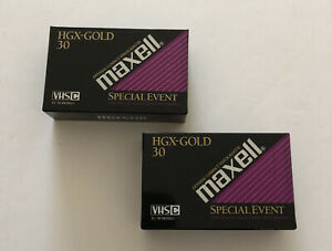 ✅  Lot of 2 Maxell VHS-C HGX-Gold 30 Tapes New - Sealed