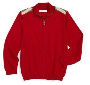 NWT BURBERRY ALDO Zip Front Sweater Cardigan Red 8 LOGO Signature Plaid NOVA BOY