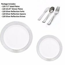 600 PC Party Set 120 Settings Salad+Dinner Plates+ Cutlery White/Silver Diamond