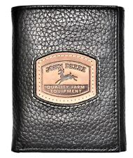 John Deere Men's Black Leather Trifold Wallet Embossed Patch - 4053000-001