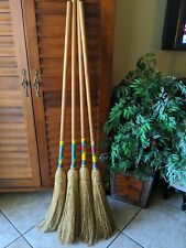 Vintage USA CURLING CURL Straw Corn Witch Broom Wood Colonial Primitive Antique