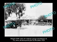 OLD LARGE HISTORIC PHOTO OF WALGETT NSW, VIEW OF MAIN STREET & GARAGE c1925
