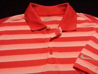 Nike Golf Dri-Fit Mens Medium Short Sleeve Red Striped Athletic Polo Golf Shirt