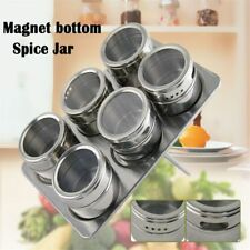 Pepper Salt Spice Jars Flavoring Container Magnetic Tins Stainless Steel