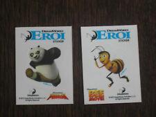 2 adesivi sticker Eroi Dreamworks esselunga Kung Fu Panda - Bee Movie