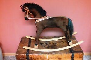 Antique Brown Cloth Rocking Horse, Vintage Childrens Toy
