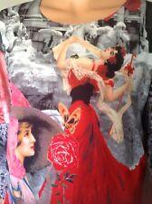 Women's Top Spanish Flamingo Dancer Woman Rose Designer Fashion Fun Stylish