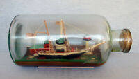 CHARMING VINTAGE PRIMITVE FOLK ART SHIP IN BOTTLE W/PIER & LIGHTHOUSE