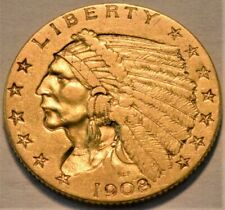 1908 $2.50 Gold Indian Quarter Eagle, Higher Grade 2 and 1/2 Type Coin