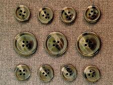 11 Mottled Brown Genuine Horn Buttons Set for Suit Jackets, Blazer, Sport Coat