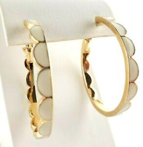 Pierced Earrings Kate Spade Hoop Cream Enamel Scalloped Gold Plated Signed