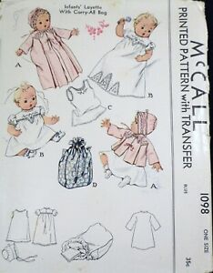Vtg 1940s McCall 1098 Baby Dress Slip Carry Bag Layette SEWING PATTERN UnCUT