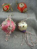Vintage 4 Handmade Christmas Satin and Bead Ball Ornaments 70s USA Made