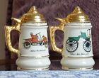 Vintage Stein Beer Mug Salt & Pepper Shakers Auto Car Themed Gold Trim Ceramic