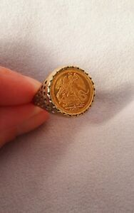 22ct Gold Coin Angel Ring On 9ct Gold Band. Size Q.