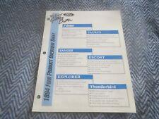 1994 Ford Mustang Aspire Ranger Thunderbird Explorer Product Overview Info Sheet