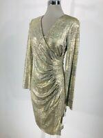 Calvin Klein NWT MODERN SEXY GOLD PLEATED WAIST SHEATH FAUX WRAP DRESS size 4, 6