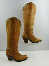 Vintage Ladies Miss Capezio Yellow Distressed Buckaroo Western Boots Size: 6.5M
