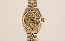 GENUINE Ladies' Rolex Steel & Gold Datejust Rubies & Diamonds QUICK SET 69173