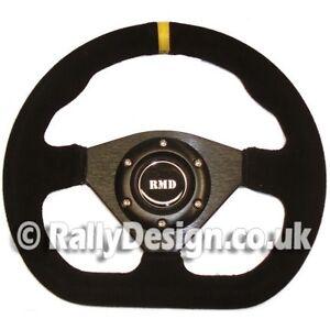 Steering Wheel 285mm D Style Black Suede Fits OMP Race Rally Road SVi-5285BSU
