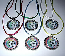 12 SOCCER TEAM SPORT AWARD REWARDS BOY GIRL NECKLACE WITH COLOR CORD PARTY FAVOR