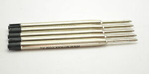 5 Black Mitrax brand ballpoint refills 0.7mm point compatible with Parker pens.
