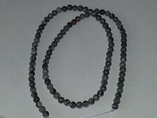 4MM Natural Silver Leaf Jasper Gemstone Round Spacer Loose Beads About 90pc. NEW