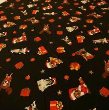 2 Metre dogs xmas print spun poly fabric strecth crafts top quality
