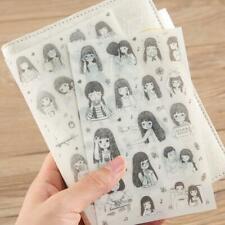 6pcs Cute Cartoon Girl Stickers Kawaii Stationery DIY Scrapbooking Aufkl M4T2