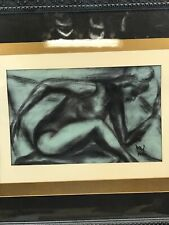 Charcoal Drawing Original Signed Artwork Female Nude