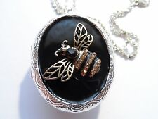 STEAMPUNK RHINESTONE HONEY BEE--GEM 2 SIDED  LOCKET
