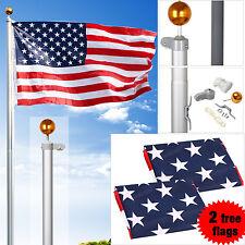 16FT Sectional Aluminum Flag pole Free 3'x5' Flag Pole Set 2 Flags Gold Ball Kit