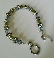 8mm Round Sterling Bead & Crystals Bracelet