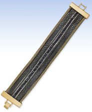 Beaded Faux Leather Strap Bracelet Inc International Concepts Gold-Tone Black