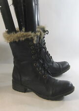 new Blacks low heel Lace ladies  Military Combat Riding ankle boots size  6  p