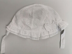 Baby Girls White Embroidered Sun Hat F&F Age 12-24M Exc Cond