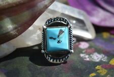 Stunning Navajo Sterling Silver Ring Free Form Sleeping Beauty Turquoise Size 6