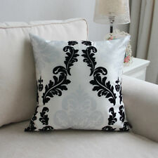 Silver black Damascus pattern Flocked square Pillow cases cushion covers 45 50