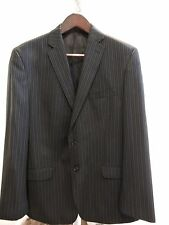 Calvin Klein Wool Blend Black Striped Lined 2 Button Blazer - Size - 44R