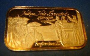 Nathan Hale Executed 480 Grains(1.09714 OZ)Fine Silver 999 Art Bar