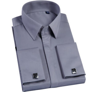 Mens Long Sleeves Shirts French Cuff Business Work Formal Dress Multicolor Shirt