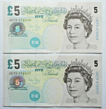 Bank of England: 2 x £5 Pounds banknotes in AUNC condition. Andrew Bailey.
