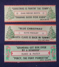 Lot of 3 Jukebox Tags 45 Rpm Title Strips Xmas Strips Elvis Oakridge Bros Etc