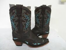 Corral Brown Leather Snip Toe Inlay Cowboy Boots Womens Size 8.5 M Style R2501