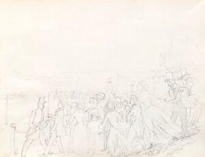 Course De Horses Au Champ-de-Mars 1843 Paris Equine Drawing Anonymous Quality