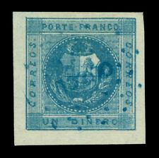 "PERU 1858 Coat of Arms  1d deep blue Scott# 3 used XF - blue dot cxl ""cuzco""?"