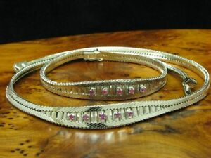 800 Silver Jewelry Set Consisting Of Necklace And Bracelet With Ruby Trim /