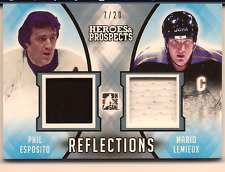 MARIO LEMIEUX & ESPOSITO 16-17 LEAF HEROES & PROSPECTS DUAL GAME USED JERSEY /20