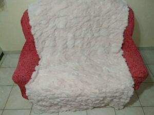 Light Pink Rex Rabbit Fur Throw 100% Real Rex Fur Bedspread / Blanket